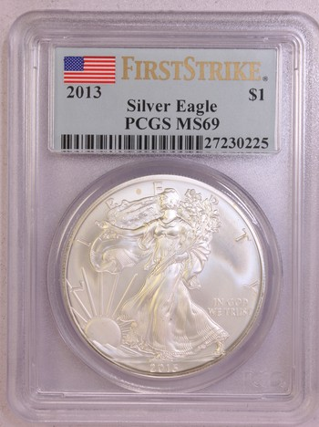 2013 US Silver American Eagle 1oz .999 Silver MS69 PCGS First Strike