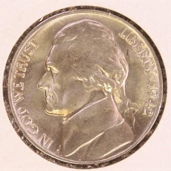 1942 P US Silver Jefferson War Nickel 5c
