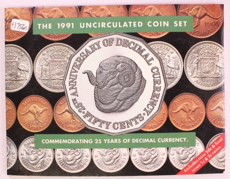 1991 Royal Australian Mint Uncirculated 25th Anniversary of Decimal Currency Coin Set