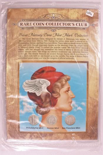 US Silver Mercury Dime 10c Mint Mark Set