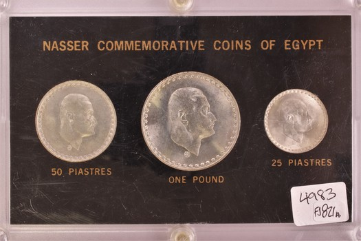Nasser Commemorative Coins of Egypt Silver Three Coin Set