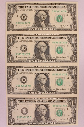 Series 1985 US Currency Uncut Sheet of Four $1 Federal Reserve Notes