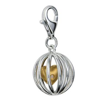 Hot Diamonds DT030 Caged Heart Silver & Diamond Charm