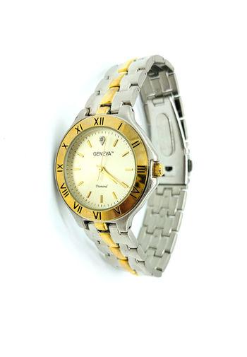 Geneva Ladies Fashion Round Stainless Steel Silver and Gold Metal Wrist Watch