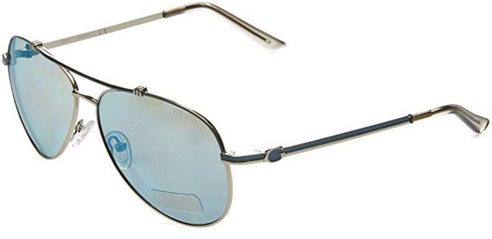 GUESS GF6016S 10X Aviator Metal Grey/Blue Sunglasses
