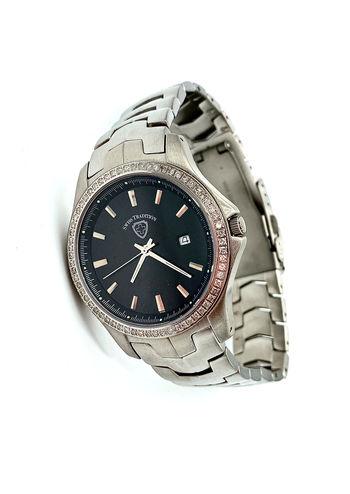 Swiss Tradition Unisex Diamond Round Swiss Movement Silver & Black Wristwatch
