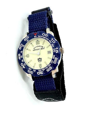 Field & Stream Mens Outdoor Adventures Tachymeter Silver & Cream / Blue Velcro Watch (OA70GLVU)