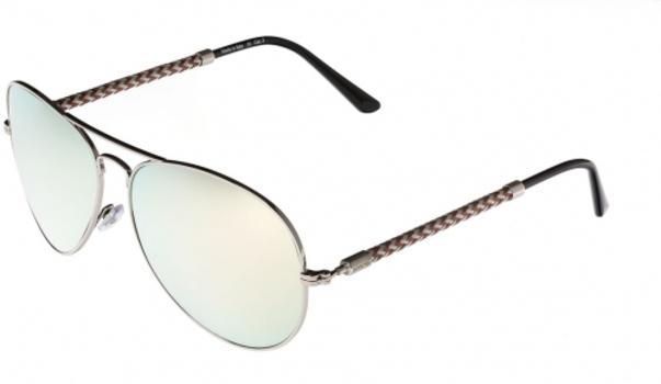 Invicta IEW017-37 Silver / Brown Aviator Sunglasses