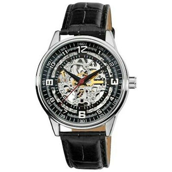 Akribos XXIV Krysterina Crystal Dark Brown Genuine Leather Skeleton Mens Watch