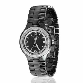 Swiss Tradition Women's Ceramic Black Band Mother of Pearl Dial Crystal Watch