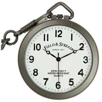 Field & Stream Men's Stainless Steel White Dial 100M Pocket Watch