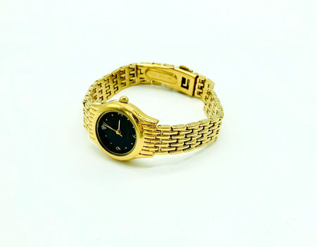 Geneva Ladies Fashion Round Diamond Quartz Yellow & Black Watch