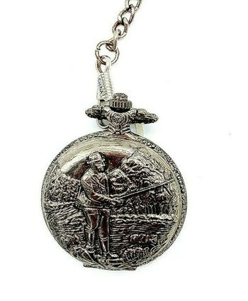 Geneva Men's Round Quartz Fisherman Pocket Watch with Metallic Chain