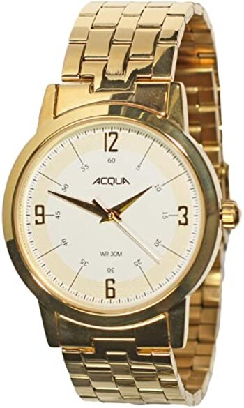 Timex Men's AA3C78900 Acqua 39mm Cream Dial Brass Watch