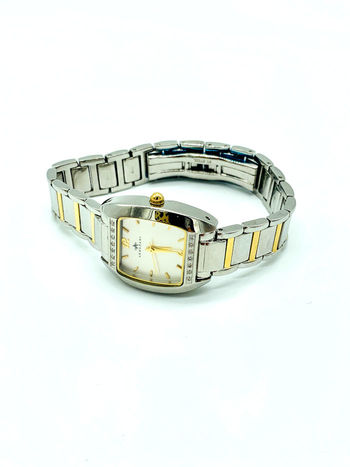 Armadani Ladies Fashion Jeweled Tonneau Silver with Gold Accents Swiss Watch