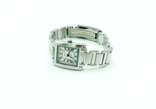 Geneva Ladies Diamond Tank Francaise Rectangular Silver / Silver Bracelet Watch