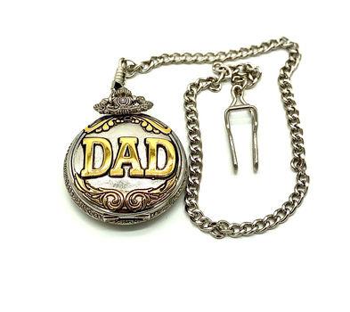 "Geneva Men's Silver ""Dad"" Quartz Round Tu-Toned with Chain Pocket Watch"