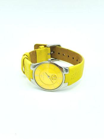 Armadani Women Fashion Round Silver / Yellow Genuine Leather Wristwatch