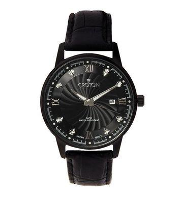 Croton Slim Black Watch with Black Leather Dress Strap CN307445SSBK