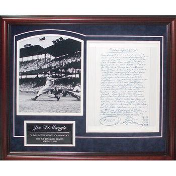 Joe DiMaggio Handwritten Diary Page w/ Framed Display - Steiner Sports