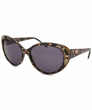"Judith Leiber ""JL5005-04"" Gold Floral / Grey Women's Cat-Eye Sunglasses"