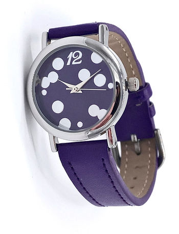 Avon Women's Signature Collection Round Metallic Purple Bubbles Wristwatch