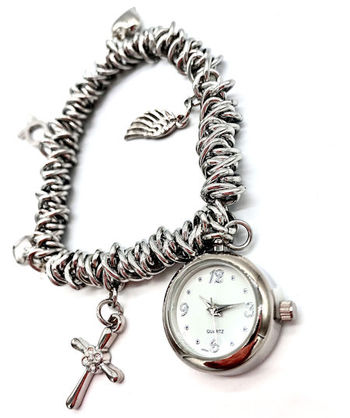 Avon Women's Signature Collection Round Silver Cross Charm Bracelet Watch (F3968341)