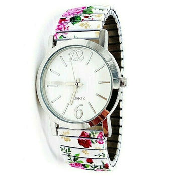 Avon Women's Signature Collection Round White Floral Expansion Wristwatch (F3995551)