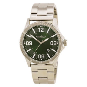 Caravelle New York by Bulova - 43B129 Mens Green Dial Quartz Date Watch