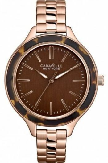 CARAVELLE NEW YORK BY BULOVA 44L128 WOMENS ANALOG BROWN DIAL QUARTZ WATCH