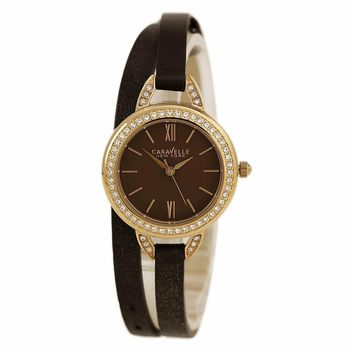 Caravelle New York by Bulova 44L130 Womens Brown Dial Leather Strap Watch