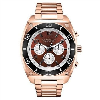 CARAVELLE NEW YORK BY BULOVA 45A110 MEN'S ROSE GOLD-TONE CHRONOGRAPH WATCH