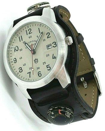 Field & Stream Men's Outdoor Adventure Brown Compass / Cream Analog Wristwatch