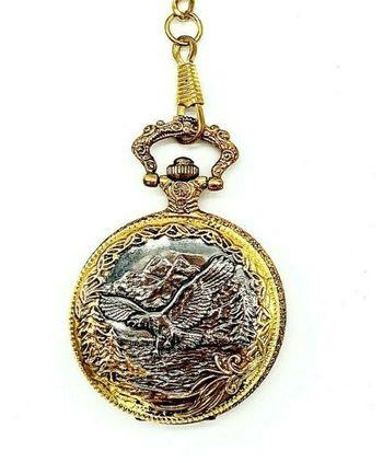 Geneva Men's Round Quartz Bald Eagle Tu-Tone Silver & Gold Pocket Watch
