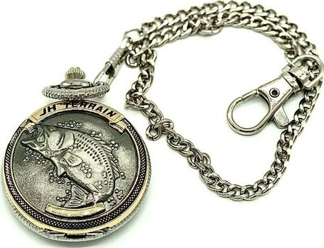 JH Terrain Men's Silver Bass Two-Toned with Chain Round Pocket Watch