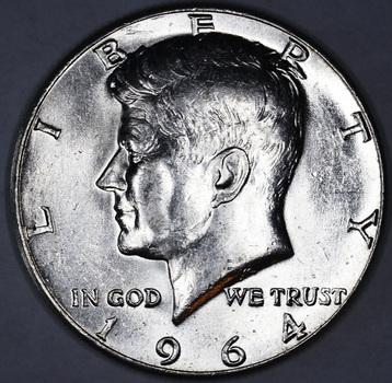1964 Silver Brilliant Uncirculated Kennedy Half Dollar