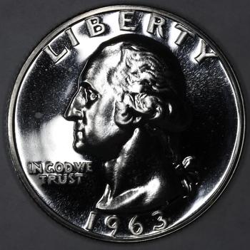 1963 Silver Gem Proof Poss Cam Washington Quarter