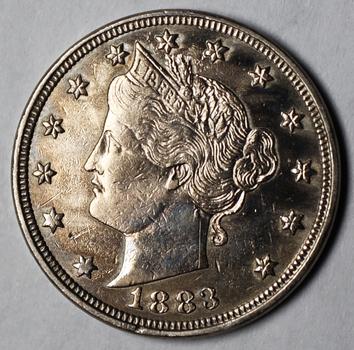 1883 'No Cents' Liberty V Nickel - Beautiful