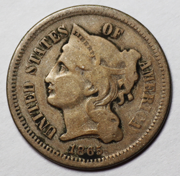 1865 First Year 3 Cent Nickel - Nice