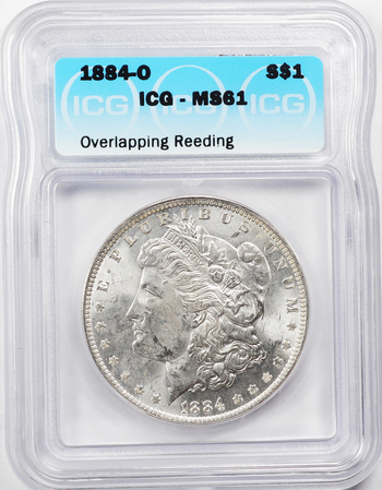 1884-O Overlapping Reeds Error - Uncirculated Mint State Morgan Silver Dollar - ICG Graded MS61