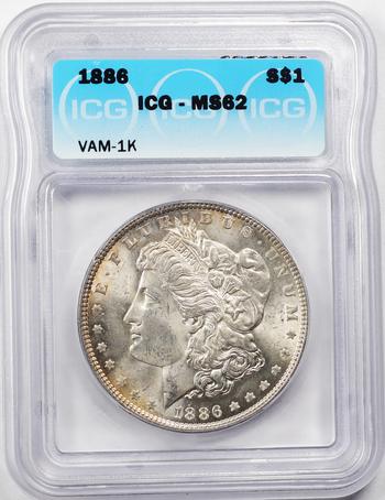 1886 VAM-1K Rarity 5/8, Die Scratch Eagle's Left Wing Morgan Silver Dollar - ICG Graded