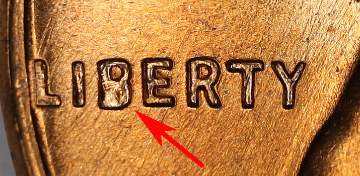 Error - 1958-D Extremely High Grade B Cud Error Lincoln Wheat Cent