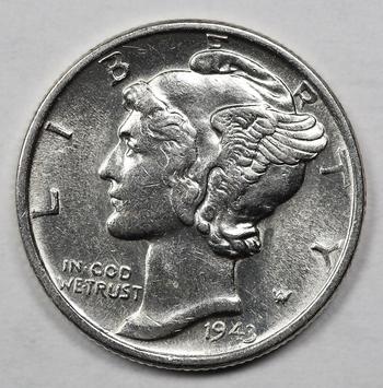 1943 Silver Brilliant Uncirculated Mercery Dime