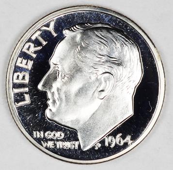 1964 Silver Proof DCAM Roosevelt Dime - Blunt 9