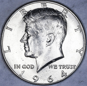 1964-D Possible Double Die Reverse on 'Dollar' and Stars Silver High Grade BU Business Strike Kennedy Half Dollar