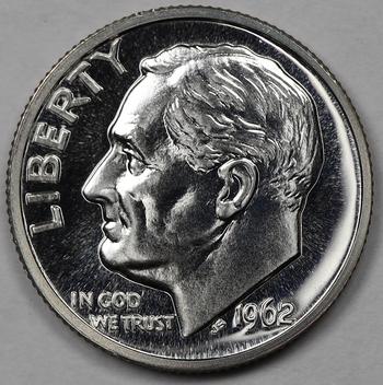 1962 Silver Gem PROOF Deep Cameo Reverse Roosevelt Dime