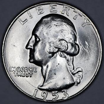 1953-D Silver Extremely High Grade Business Strike Washington Quarter