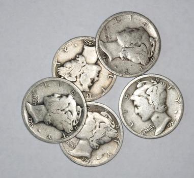 Lot of 5 Silver Mercury Dimes - 1920s