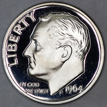1964 Proof Silver Deep Cameo Blunt 9 Roosevelt Dime