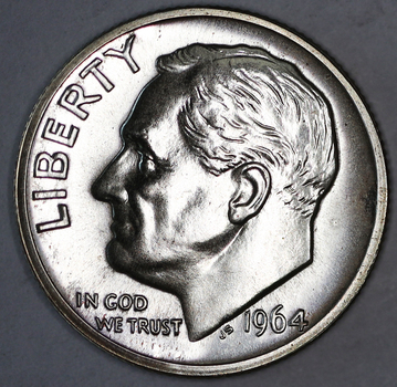 1964 Proof Silver Blunt 9 Variety Roosevelt Dime